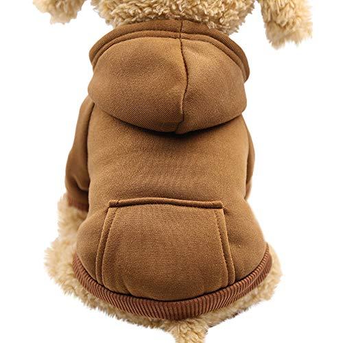 Pet Fleece Dog Hoodies, Basic Hoodie Sweater Cotton Jacket Sweatshirt Coat with Pocket for Small Medium Dog Cat (Coffee, XL)