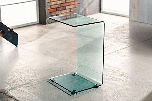 IMAGO FACTORY Cloud - Tavolino servetto - Tavolo Lampada in Vetro curvato
