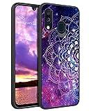 YINLAI Samsung Galaxy A40 Hülle,Handyhülle Samsung A40 Lila Mandala Nebula Muster leuchtet im Dunkeln mit TPU Stoßstange Hybrid PC Schale rutschfeste Fallschutz Schutzhülle für Samsung Galaxy A40