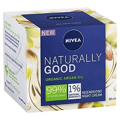 Nivea Naturally Good Regenerating Night Cream (50 ml), Moisturising Face Cream with Organic Argan Oil, Night Cream with Jojoba Oil and Almond Oil, 99% Natural Ingredients, Pack of 3 from Beiersdorf