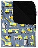 Baby Blanket - Yellow Heavy Equipment with Black Minky Dot