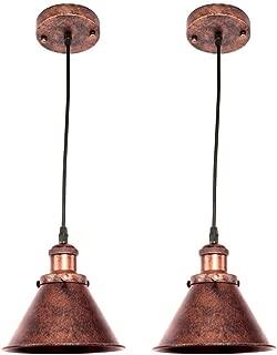 OYI Retro Lámpara Colgante de Techo Metal Vintage Iluminación Lámparas de araña Acabado de cobre E27 para Cocina Comedor Habitación Bar Restaurante (Sin bombilla)