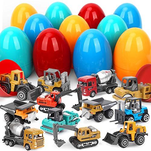 Sanlebi Camion Metalicos Juguete, Huevos Sorpresa Juguetes con Coches Vehículos de Construcción para Niños Decoración de Fiesta de Pascua Hunt
