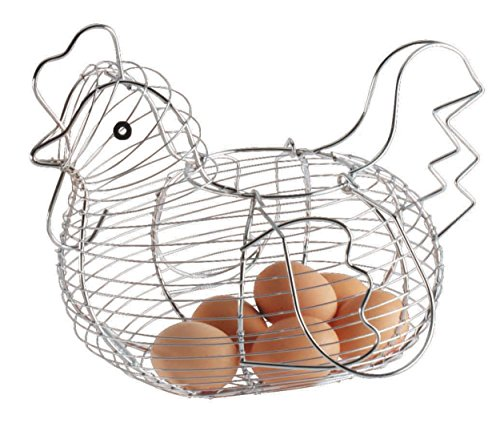 KitchenCraft KCCHICKLRG Chicken Shaped Egg Basket with Chrome Plated Finish, Wire, 34 x 26 x 24 cm