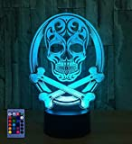 3D Skull Night Light Illusion Lamp 7/16 Color Change LED Lamp USB Powered Touch Switch Remote Control Gift Kids Toys Decor Decorations Christmas Halloween Toy Gift