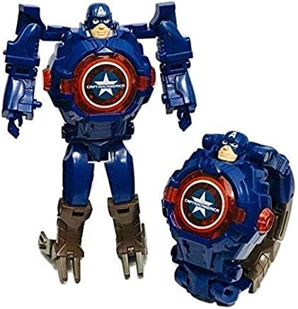 World of Needs® Transformer Robot Toy Convert to Digital Wrist Watch for Kids Avengers Robot Deformation Watch Captain America Figures Plus Watch