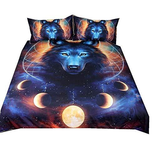 Bettbezug Set 3D Galaxy Sternenhimmel Universum Mond Wolf Eule Elch Löwe Bettbezug Und Kissenbezug für Kinder, Jungen, Mädchen Bettwäsche-Set mit Reißverschluss (Kosmische Milchstraße Wolf, 135x200xm)