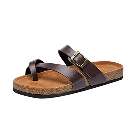 a7924d36e501fa ZKOO Womens Cork Sandals Flip Flop Shoes Open Toe Ankle PU Leather Strap  Flat Sandals Beach