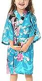 Yiarton Peignoir Enfant Motif Exotique Paon Fleur Kimono Soie Cardigan Robe de...