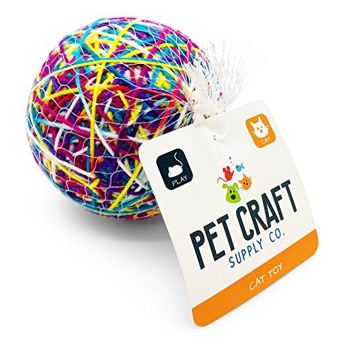 Pet Craft Supply Yowlin' Yarn - Multi Color Yarn Balls with Rattle Cat Toys, Single