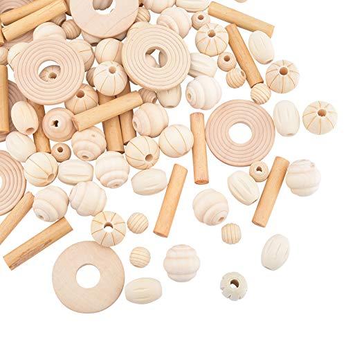 OLYCRAFT 100 cuentas de madera natural sin pintar de 6 formas, cuentas espaciadoras sueltas de madera para hacer joyas, manualidades hechas a mano