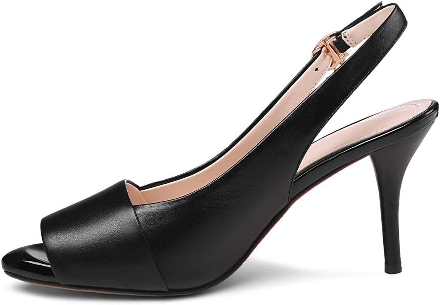 Nine Seven Women's Genuine Leather Peep Toe Stiletto Heel Handmade Glossy and Comfortable Spring Summer Pumps shoes