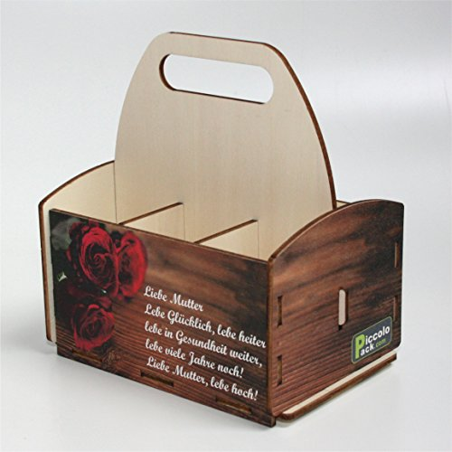 PiccoloPack Sechserträger-Flaschenträger aus Holz, ein außergewöhnliches Muttertagsgeschenk für Mama-Mutter-Oma, SixPack, Geschenk für Freundin (Muttertagsgedicht)