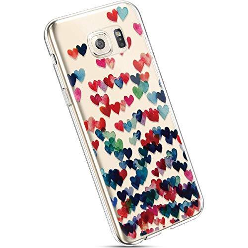 Ysimee Hülle kompatibel mit Samsung Galaxy S6 Edge Handyhülle, Transparent Weiche Silikon Schutzhülle Muster Blumen [Crystal Klar] TPU Bumper Dünne Stoßfeste Protective Hülle, Buntes Herz