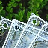 MLECA 0.35mm Impermeable Lona De Protección Lona Transparente PVC A Prueba De Viento Anti-Sole Tela Cubiertas Plástico Toldos de Plantas Lonas Plegable-1.8x2m/5.9x6.6ft