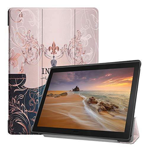 Lobwerk Cover für Lenovo Tab E10 TB-X104F 10.1 Zoll Tablethülle Schlank mit Standfunktion & Auto Sleep/Wake Funktion Braun