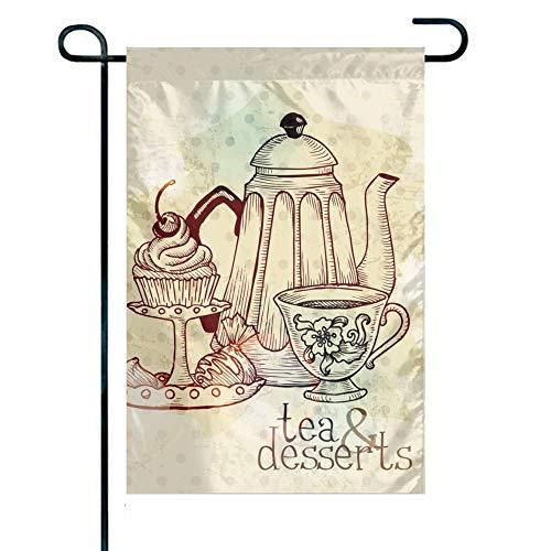 Trista Bauer Yard Home Outdoor Polyester einseitig Tee & Desserts Garten Dekor Flagge, 12 x 18 Zoll