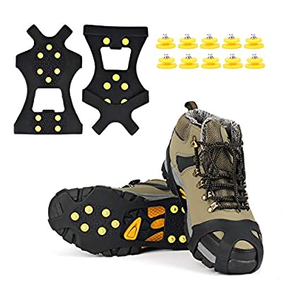 EONPOW Ice Grips, Ice & Snow Grips Cleat Over Shoe/Boot Traction Cleat Rubber Spikes Anti Slip 10 Steel Studs Crampons Slip-on Stretch Footwear (Size L) Extra10 Studs Included