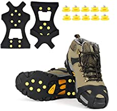 EONPOW Ice Grips, Ice & Snow Grips Cleat Over Shoe/Boot Traction Cleat Rubber Spikes Anti Slip 10 Steel Studs Crampons Slip-on Stretch Footwear (Size S)