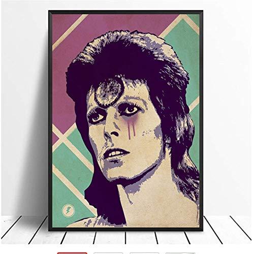 NRRTBWDHL David Bowie Ziggy Stardust Musica Poster Hip Hop Musica Rap Band Band Star Poster Wall Art Pittura Camera Home Decor Stampa su Tela -40x60 No Frame