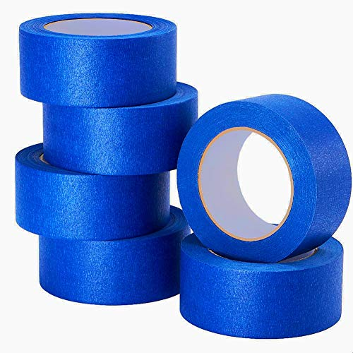 LICHAMP 6-Piece Blue Painters Tape 2 inches Wide, Blue Masking Tape Painter's Bulk Multi Pack, 1.95 inch x 55 Yards x 6 Rolls (330 Total Yards)