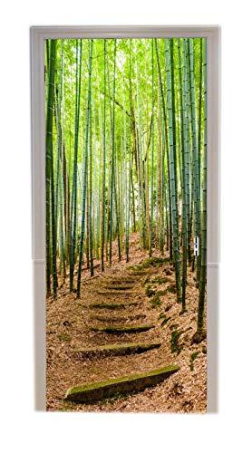A.Monamour Pegatinas Decorativas de Puerta Autoadhesivo 3D Camino De Escaleras De Piedra Bosque De Bambú Verde En Kioto Japón Vinilo para Puertas Mural PVC Pegatinas de Pared Foto Poster 77 x