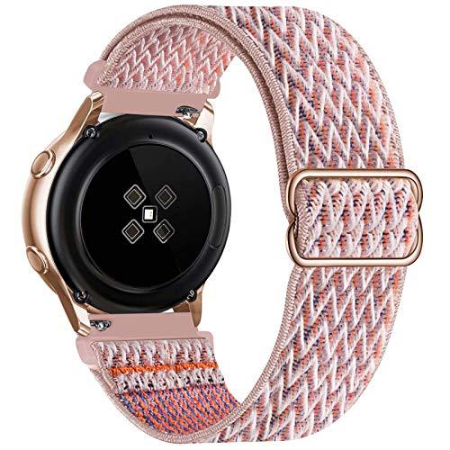 GBPOOT 20mm Correa Compatible con Samsung Galaxy Watch Active 2(40mm/44mm)/Watch 3 41mm/Watch 42mm/Gear S2,Reloj Ajustable de Repuesto Deporte Strap,Pulsera Nylon Banda,Pink Sand,20mm