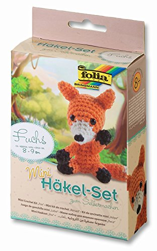 folia 23903 - Mini Häkelset Fuchs, ca. 8 - 9 cm groß, Komplettset zur Erstellung von einem selbst gehäkelten niedlichen Fuchs, für Kinder ab 8 Jahren und Erwachsene, als Geschenk
