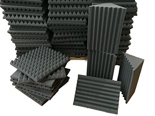 Pannelli Fonoassorbenti - Pacco 10 Piramidali 50x50x6 D25 + 4 Basstrap Scanalato H50 D25