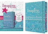 Tyndale NLT Inspire Bible for Girls (Hardcover LeatherLike, Metallic Blue): Journaling and Coloring Bible for Kids – Over 500 Scripture Illustrations to Color - Creative Bible Journal