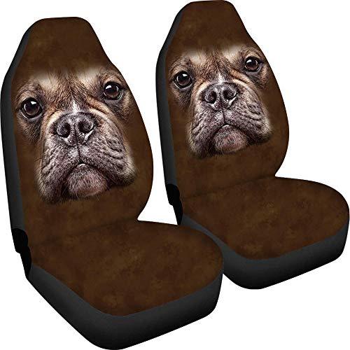 Juego de 2 fundas para asiento de coche, transpirable, universal, con diseño de perro marrón claro, fácil de instalar y limpiar, apto para camiones, furgonetas, SUV, etc.
