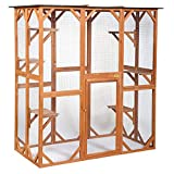 COZIWOW 66.5'x34.6'x71' Large Wooden Outdoor Pet Cat Dog Enclosure Catio Cage with 6 Platforms, Weatherproof Roof, Ventilated, Yellow