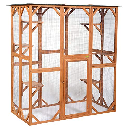 COZIWOW 66.5'x34.6'x71' Large Wooden Outdoor Pet Cat Dog Enclosure Catio Cage with 6 Platforms,...
