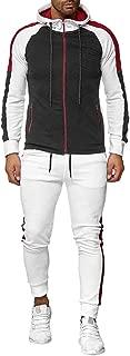 iHHAPY Men's 2PC Sportsuits Tracksuit Patchwork Trainnig Suit Sport Jacket Drawstring Pants Set Plus Size Sportwear