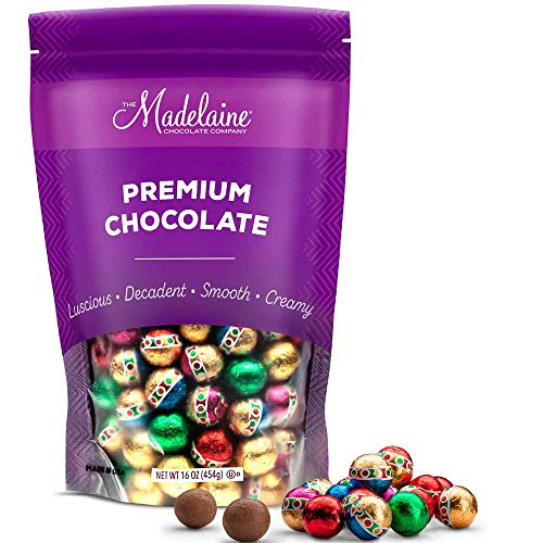 Madelaine Solid Premium Milk Chocolate Christmas Ornament Balls (1 LB) Holiday Chocolate Candy Individually Wrapped In Reminiscent Of Miniature Ornaments Italian Foils (One Pound)