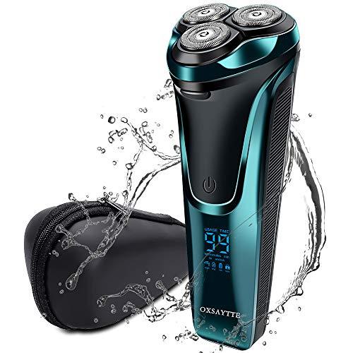 Rasierer Herren Elektrisch, 360° Elektrischer Nass- und Trockenrasierer Rasierapparat Bartschneider, USB,100 % Wasserdicht, Pop-up-Trimmer mit Reisetasche&LCD-Display,Geschenkidee für Herren