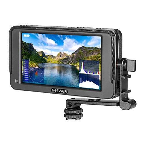 Neewer F400 5,7-Zoll Kamera Feldmonitor Voll HD 1920x1080 IPS mit 4K HDMI DC Eingang Video Peaking Fokushilfe mit Neigungsarm für DSLR Kameras und Gimbal (Akku Nicht im Lieferumfang enthalten)