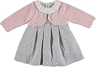 Mayoral Pretty Baby Girls Pink & Gray Dress with Attached Cardigan