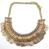 XingBeiBei Fashion Items Jewelry Retro Metal Texture Flowers Coin Necklace (Gold)