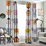 Cartoon Curtains for Kids urtains for Home Accessories Fabric 96x84 inch Kids Themed Baby Cute Animals Lions Pigs Cows Farm Safari Baby Nursery Room Image Multicolor