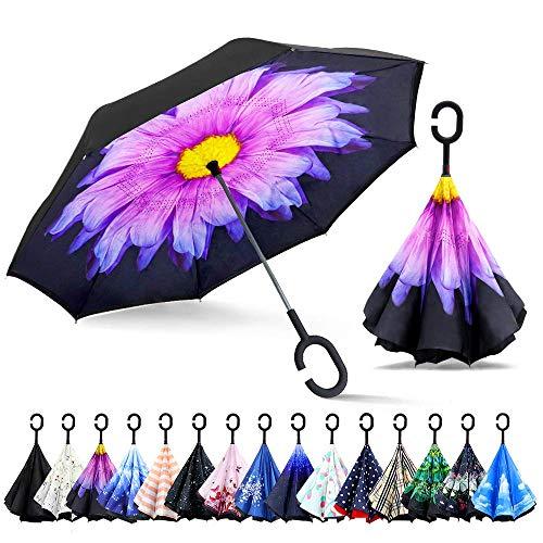 ZOMAKE Paraguas de Doble Capa Invertido, Paraguas Plegable Reversible con Protección contra Rayos UV, Resistencia con Viento, Mango en Forma de C para Mujer Hombre Coche(Flor púrpura)