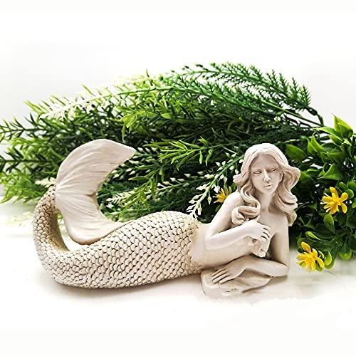 Meerjungfrau Garten Statue, Meerjungfrau Outdoor Ornament, Handmalerei Bunte Harz Craft Figur, mediterrane Stil Fee Dekoration, für Outdoor...