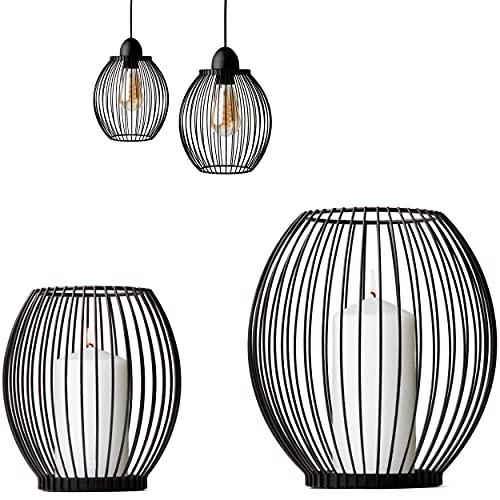 Volldra® Kerzenständer 2er Set Kerzenset Schwarz-Matt mit 2 Gestaltungsmöglichkeiten Windlicht und Lampenschirm skandinavische Tischdeko aus Metall für Boho deko Vintage Hochzeit oder Frühlingsdeko.