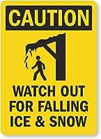 安全標識-注意-氷と雪の落下に注意してください。インチの金属錫標識UV保護および耐候性、通知警告標識