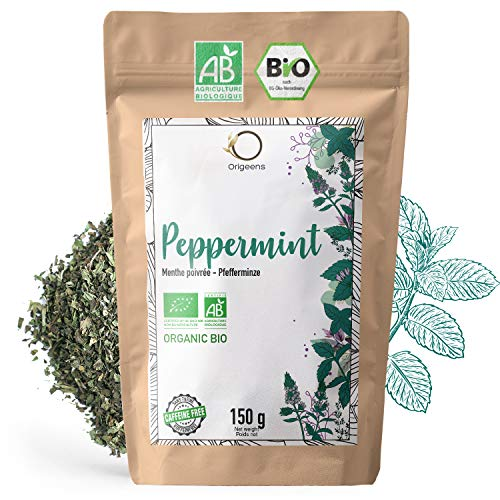 ORIGEENS BIO PFEFFERMINZE GETROCKNET, 150 g - Getrocknete Minze für Pfefferminz Tee und Eistee oder zur Verwendung als Küchenkräuter - Bio Pfefferminze lose