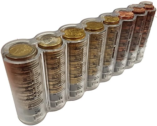CLAIRE-FONCET Dispensador de monedas de 8 piezas de Euro transparente y graduado, Monedero cintura, ideal para Camarero, Camarera, Taxi, vendedores en Parque de atracciones, de Producción Europea