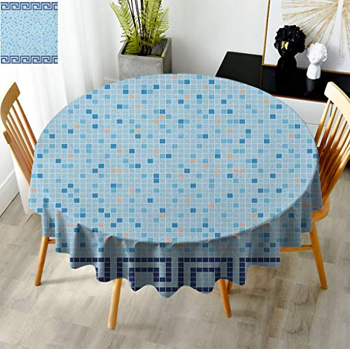 Fogoodecor Aqua Easy Care Tablecloth, Antique Greek Border Mosaic Tile Squares Abstract Swimming Pool Design Pattern Table Cloths for Round Coffee Tables, Diameter 65' Pale Blue Navy Blue Beige