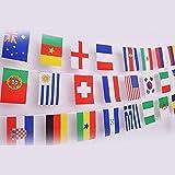 G2PLUS Banderole de 50m avec 200 différents drapeaux nationaux, 14x 21cm, parfait pour les fans de football ou de rugby, 50 National Flags