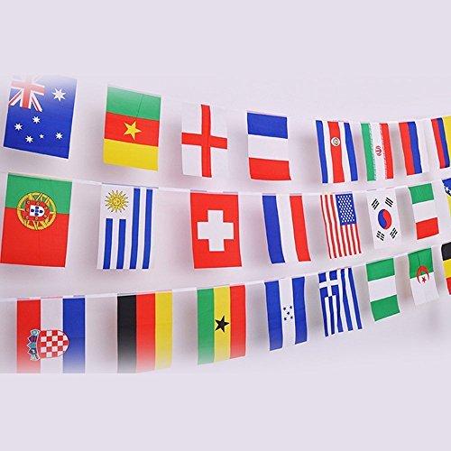 G2PLUS 12.5M Flaggenkette Fahnenkette Wimpelkette mit 50 Zuf?llige L?nder Fahnen Flaggen Ideale Dekorationen f¨¹r Bar, Party, Festival, Sportvereine
