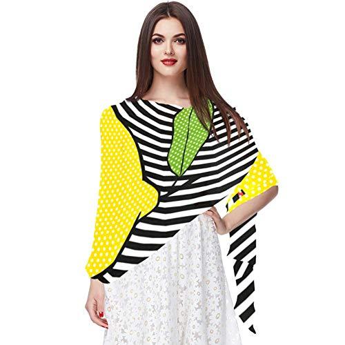 Bufandas de moda con protección solar, chales de gasa de poliéster, chales envolventes para el cuello, chales para niñas, regalo de madre, pop limón con labios y líneas de fondo